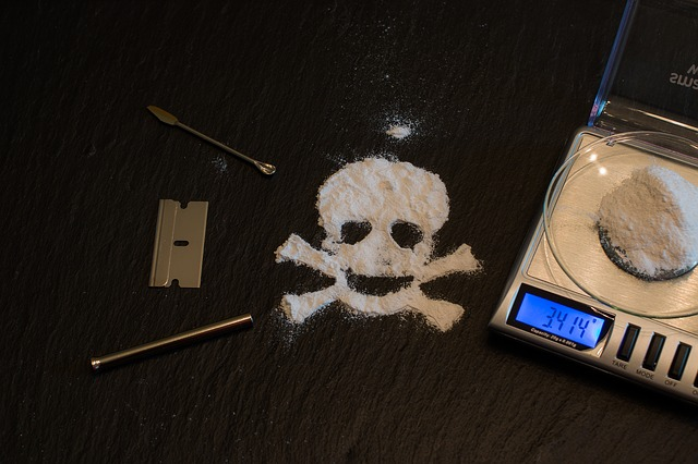 Skeleton drawing with drugs