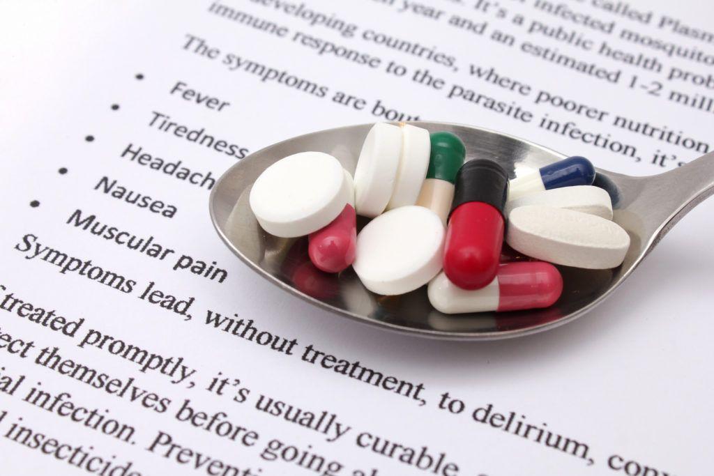 color full pills medication spoon