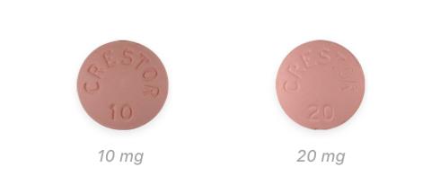 Crestor 10 mg and 20 mg pills
