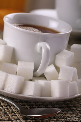 tea or coffee drink with lots of sugar cubes.